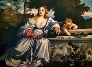 Le Titien, Amour Sacré et Amour Profane, détail de l'amour profane, à la galerie Borghèse à Rome