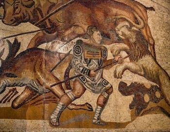 Combat de gladiateur contre des fauves, mosaïque, galerie Borghese à Rome en Italie