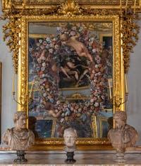Carlo Maratta et Giovanni Stanchi, Miroir peint avec une Guirlande de Fleurs et quatre Putti, galerie Colonna à Rome