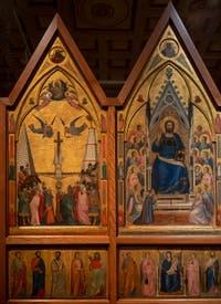 Giotto di Bondone, vesro du Triptyque Stefaneschi, la crucifixion de saint Pierre et le Christ en trône, à la Pinacothèque du Musée du Vatican à Rome