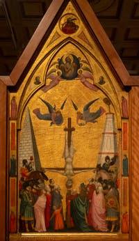 Giotto di Bondone, panneau gauche du Triptyque Stefaneschi, la crucifixion de saint Pierre, à la Pinacothèque du Musée du Vatican à Rome