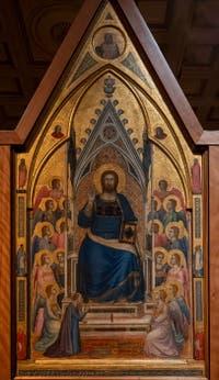 Giotto di Bondone, panneau central au verso du Triptyque Stefaneschi, le Christ Bénissant ou Christ en Majesté, à la Pinacothèque du Musée du Vatican à Rome