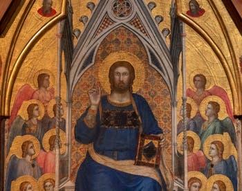 Giotto di Bondone, détail du verso du Triptyque Stefaneschi, le Christ en trône bénissant, à la Pinacothèque du Musée du Vatican à Rome