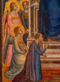 Giotto di Bondone, verso du Triptyque Stefaneschi, le cardinal Stefaneschi aux pieds du Christ, à la Pinacothèque du Musée du Vatican à Rome