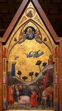 Giotto di Bondone, panneau droit du Triptyque Stefaneschi, la décapitation de saint Paul, à la Pinacothèque du Musée du Vatican à Rome