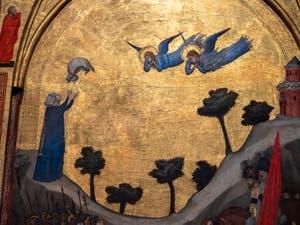 Giotto di Bondone, verso du Triptyque Stefaneschi, panneau droit, détail de la décapitation de saint Paul avec Plautille qui reçoit son voile de l'apôtre pendant son ascension, à la Pinacothèque du Musée du Vatican à Rome