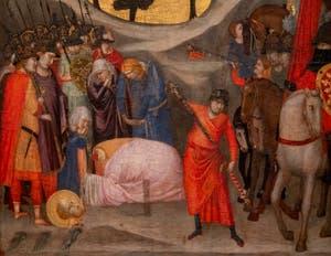 Giotto di Bondone, verso du Triptyque Stefaneschi, panneau droit, détail du panneau de la Décapitation de saint Paul, à la Pinacothèque du Musée du Vatican à Rome