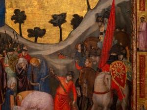 Giotto di Bondone, verso du Triptyque Stefaneschi, les couleurs de la décapitation de saint Paul, à la Pinacothèque du Musée du Vatican à Rome