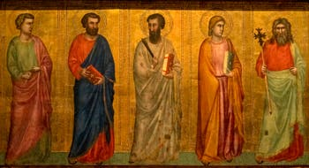 Giotto di Bondone, verso du Triptyque Stefaneschi, la predelle située sous la crucifixion de saint Pierre montrant les apôtres, à la Pinacothèque du Musée du Vatican à Rome