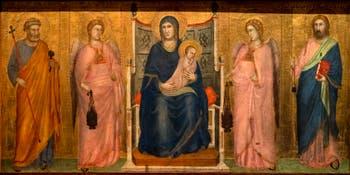 Giotto di Bondone, verso du Triptyque Stefaneschi, la predelle située sous le Christ avec la Vierge Marie et l'Enfant entre les anges, à la Pinacothèque du Musée du Vatican à Rome
