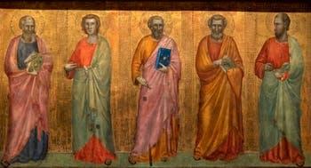 Giotto di Bondone, verso du Triptyque Stefaneschi, la predelle située sous la Décapitation de saint Paul montrant les apôtres, à la Pinacothèque du Musée du Vatican à Rome