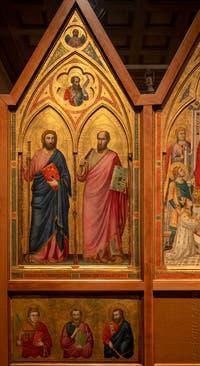 Giotto di Bondone, panneau gauche du recto du Triptyque Stefaneschi avec saint Jacques et saint Paul avec sa prédelle, à la Pinacothèque du Musée du Vatican à Rome