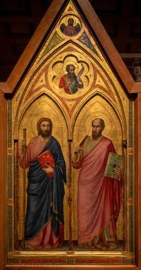 Giotto di Bondone, panneau gauche du recto du Triptyque Stefaneschi avec saint Jacques et saint Paul, à la Pinacothèque du Musée du Vatican à Rome