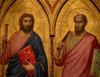 Giotto di Bondone, panneau gauche du recto du Triptyque Stefaneschi, détail de saint Jacques et saint Paul, à la Pinacothèque du Musée du Vatican à Rome
