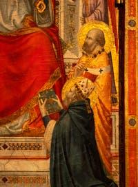 Giotto di Bondone, recto du Triptyque Stefaneschi, détail de saint Pierre en trône, à la Pinacothèque du Musée du Vatican à Rome