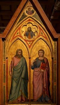 Giotto di Bondone, panneau droit du recto du Triptyque Stefaneschi avec saint André et saint Jean, à la Pinacothèque du Musée du Vatican à Rome