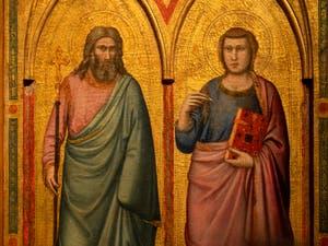 Giotto di Bondone, détail du panneau droit du recto du Triptyque Stefaneschi avec saint André et saint Jean, à la Pinacothèque du Musée du Vatican à Rome
