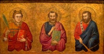 Giotto di Bondone, recto du Triptyque Stefaneschi, la predelle montrant saint Pierre, saint Étienne et saint Barthélemy, à la Pinacothèque du Musée du Vatican à Rome