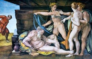 La fresque de l'Ivresse de Noé au plafond de la chapelle Sixtine par Michel-Ange au Vatican à Rome