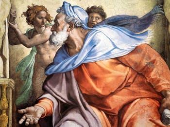 La fresque du prophète Ézéchiel au plafond de la chapelle Sixtine par Michel-Ange au Vatican à Rome