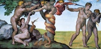 La fresque du Paradis, de la Tentation et de la Chute au plafond de la chapelle Sixtine par Michel-Ange au Vatican à Rome