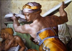 La fresque de la Sibylle de Lybie au plafond de la chapelle Sixtine par Michel-Ange au Vatican à Rome