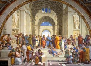 Raphaël, L'école d'Athènes dans les Chambres de Raphaël au Musée du Vatican à Rome