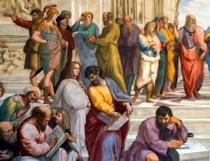 Raphaël, l'école d'Athènes au musée du Vatican à Rome