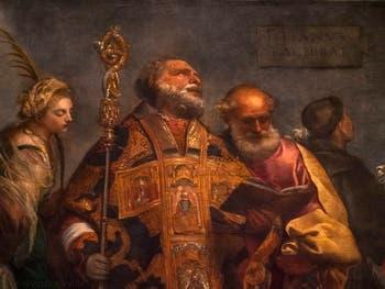 Titien, détail de la Madone des Frari : sainte Catherine, saint Nicolas et saint Pierre au Vatican à Rome