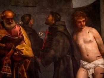 Titien, détail de la Madone des Frari avec saint Pierre, saint Antoine de Padoue, saint François et saint Sébastien, musée du Vatican à Rome