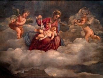 Titien, détail de la Madone de San Niccolò des Frari avec l'Enfant Jésus et deux angelots, Pinacothèque du Vatican à Rome
