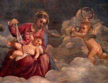 Titien, détail de la Madone de San Niccolò des Frari avec l'Enfant Jésus et un angelot, Pinacothèque du Vatican à Rome