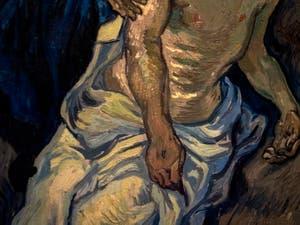 Vincent Van Gogh, détail du corps du Christ dans la Pietà, au musée d'art contemporain du Vatican à Rome