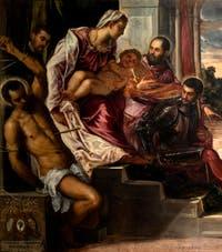 Le Tintoret, La Madonna dei Tesorieri avec la Vierge et l'Enfant et les Saints Sébastien, Marc, Théodore, trois camerlingues et leurs secrétaires, à la galerie de l'Accademia à Venise.
