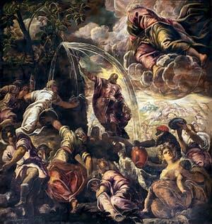 Le Tintoret, Moïse faisant jaillir l'eau du rocher, Scuola Grande San Rocco à Venise