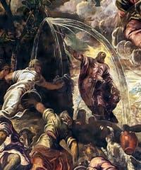 Le Tintoret, Jacopo Robusti, Moïse faisant jaillir l'eau du rocher à la Scuola Grande San Rocco à Venise