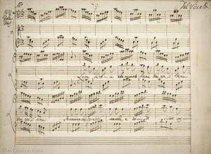Livret manuscript de Vivaldi, Air Allegro pour Viole, il leone feroce che avvinto mai non si teme