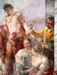 Jacopo Guarana et Agostino Mengozzi Colonna, portrait de Pasquale Anfossi dans la fresque du Concerto des filles du choeur de l'Ospedaletto Derelitti, Venise Italie