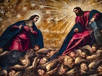 Le Paradis de Tintoret, la Vierge Marie et le Christ, au Palais des Doges de Venise