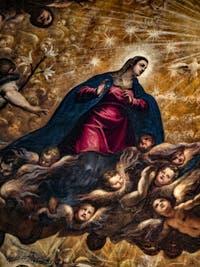 Le Paradis de Tintoret, la Vierge Marie, au Palais des Doges de Venise