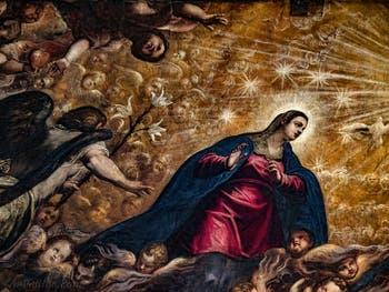 Le Paradis de Tintoret, la Vierge Marie et l'Archange Gabriel, au Palais des Doges de Venise