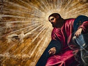Le Paradis de Tintoret, Jésus-Christ et le Paraclet de l'Esprit Saint, au Palais des Doges de Venise