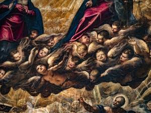 Le Paradis de Tintoret, les anges Chérubins sous le Christ, au Palais des Doges de Venise