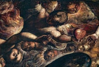 Le Paradis de Tintoret, anges Chérubins et cœur, au Palais des Doges de Venise