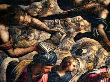 Le Paradis de Tintoret, les anges Chérubins et Séraphins ainsi que le Roi Salomon, au Palais des Doges de Venise