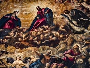 Le Paradis de Tintoret, la Vierge Marie, le Christ, l'Archange Michel et saint Jean, au Palais des Doges de Venise