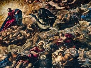 Le Paradis de Tintoret, le Christ, l'Archange Michel et Saint-Jean, au Palais des Doges de Venise