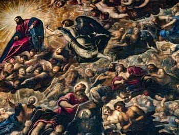 Le Paradis de Tintoret, le Christ, l'Archange Michel et saint Jean, au Palais des Doges de Venise
