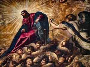 Le Paradis de Tintoret, Le Christ, les Chérubins et l'Archange Michel, au Palais des Doges de Venise