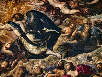 Le Paradis de Tintoret, l'Archange Michel, au Palais des Doges de Venise